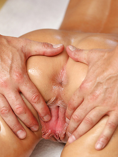 Horny guy gets to massage brunette girl's cunt with his long hard cock