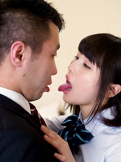 Japanese Cutie Nonomiya Misato slides a hard shaft up her hairy pink slit