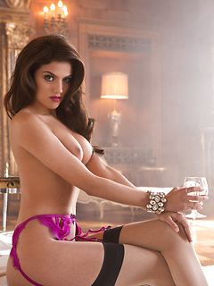 Glamorous centerfold Val Keil is stunning in lingerie and sexy pink lipstick