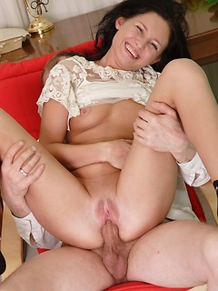 Luscious darling Susannah rides a boner until it explodes on her small tits
