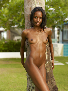 Stunning nude model Valerie Mauritian leans against a palm tree
