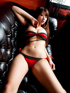 Sexy red and black lingerie looks amazing on the perfect body of Asian girl Sayuki Matsumoto