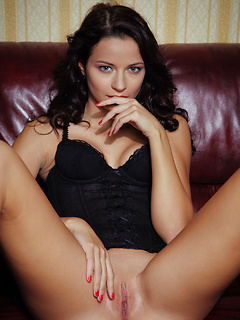 Black bustier and panties are sexy on the smoking hot blue eyed brunette Ardelia