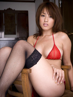 Fantastic Asian doll Ayaka Noda loves posing in her rather sexy red lingerie