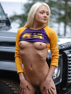 Blonde in the woods is exceptionally beautiful and has to strip naked and turn you on