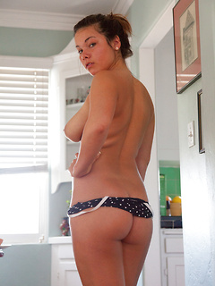 Big ass chick in a polka dot swimsuit is wicked flexible and irresistible
