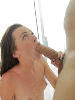Fabulous brunette named Stella deepthroats a huge dick before bouncing on it