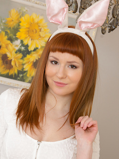 Sweet teen redhead in a pretty white dress has a flawless shaved pussy