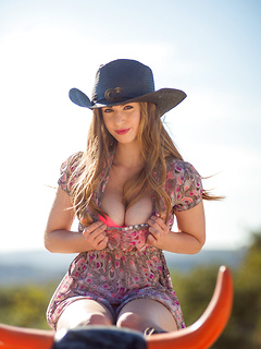 Cowgirl Stella Cox is perfect in a sundress and sexy leather boots as she plays with her tits