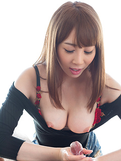 Adorable Japanese stunner Kisaki Aya uses her tits and hands on an erect shaft