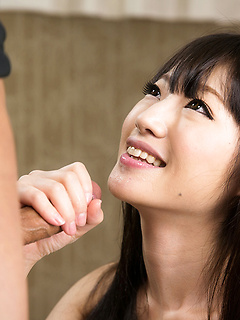 Sultry Japanese lips suck on this dick until the guy spews his hot seed