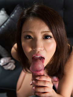 Seductive Japanese lassie strips down before sucking on her man's stiff pecker