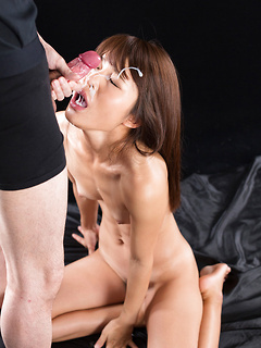 Ravishing Asian honey Aoi Shino is down on her knees deepthroating a hard boner