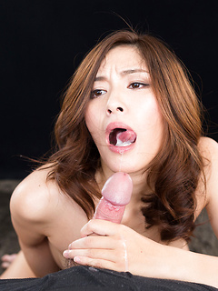 Slow and sensual Japanese blowjob makes him cum in her eager mouth
