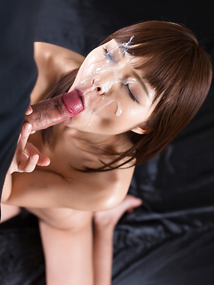 Cock worshiping Asian girl on her knees gets a massive facial from his boner